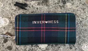 Ladies Inverness 4 colours Tartan Check Emma Long Purse Zip Closure