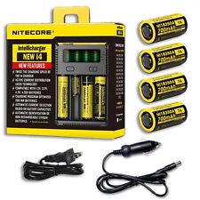 NiteCore IntelliCharger i4 w/4x IMR 7A 18350 Batteries +Car & Wall Adaptor