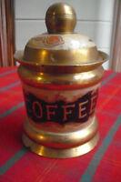 """VINTAGE BRASS COFFEE STORAGE POT & LID 6"""" JAR - CERAMIC EMBOSSED FLORAL PATTERN"""