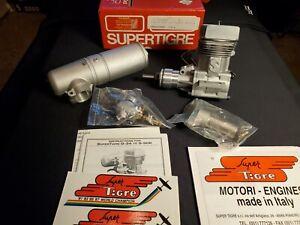 SUPER TIGRE S61K RINGED R/C AIRPLANE ENGINE, WITH SILENT MUFFLER. N.I.B 📦