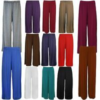 New Ladies Plus Size Plain Wide Leg Stretch Bottoms Palazzos 12-30