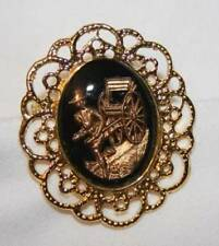 Handsome Scalloped Goldtone Oriental Man With Cart Black Glass Cameo Brooch Pin