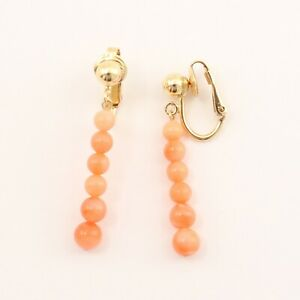 14k Yellow Gold Filled Non-Pierced Clip-On Handcrafted Coral Earring TPJ
