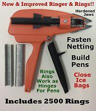 """Hog Rings Ringer & 2500 pcs. 9/16"""" Galv for Stanley Ringer Gun Aviary Net Attach"""