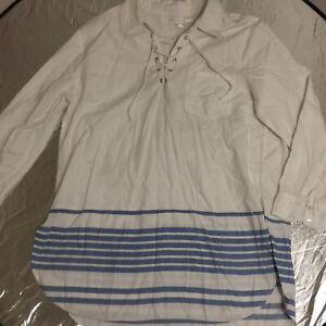 Alessi Medium Long Sleeve Shirt Made In India Design Kurta Blue Stripes Tie Neck
