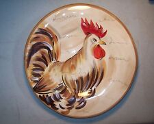 """NEW Tabletops Gallery Art Pottery Hand Painted Romalo Rooster 9.5"""" Plate"""