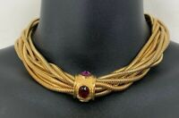 Vintage Givenchy Multi Snake Chain Choker Necklace Gold Tone Snap Clasp Gemstone