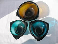 Nuutajarvi  Kaj Franck 1 medium 2 x Small Bullseye Bowls Brown, Green & Blue