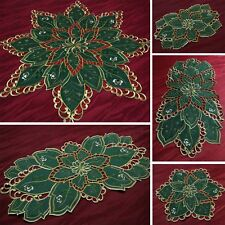 NEW Christmas Table runner Doily Tablecloth Green Star with Openwork Embroidery