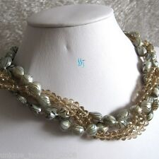 "18"" 6-8mm White Black Wave Crystal 4Row Freshwater Mother Of Pearl Necklace"
