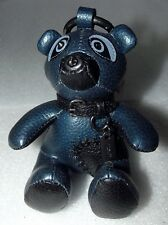 Coach 56743 ACE Teddy Bear Metallic Blue Leather Bag Charm Key Fob New NWT $150