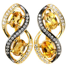 Sterling Silver 925 Gold Coated Genuine Natural Citrine Two Tone Earrings