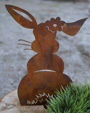 3er Set Edelrost Metall Hase Hopsi zum Stecken Rostdeko Frühling Garten Ostern