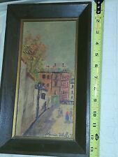 Vintage Maurice Utrillo Print Mid Century Modern City Street Framed 11 x 5.5