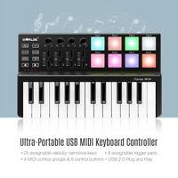 MINI 25-Key Ultra-Portable USB MIDI Keyboard Controller 8 Backlit Trigger
