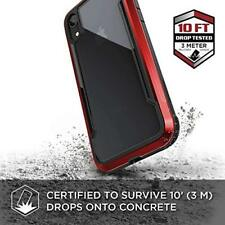 iPhone XR Case Aluminum Frame Military Grade Drop Protection Clear PC Back Red
