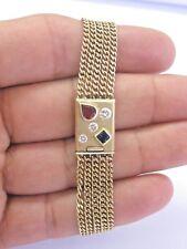 Fine Gem Ruby Sapphire & Diamond Yellow Gold 5-Row Bracelet 1.75Ct 14KT
