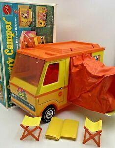Vintage 1970 Mattel Barbie Country Camper W/ Original Box Chairs Sleeping Bags
