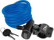 Fahrrad Spiralkabelschloß  Blau Länge 180 cm, Ø 10 mm CLIP-ON-Halter  11026