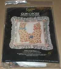 """1984 Floral """"China Cats"""" w/ Mice Stamped Cross Stitch Pillow Kit 14x14"""""""