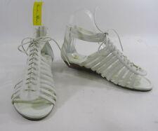 "WHITE 1.5""low wedge heel straps NEW summer  FASHION Gladiator SANDALS SIZE 10 p"
