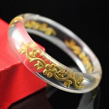 Free Shipping 24K Yellow Gold & Crystal Bracelet Lucky Plum Blossom Bangle
