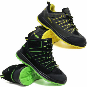 MENS LEATHER SAFETY WORK BOOTS  STEEL TOE CAP SHOES ANKLE TRAINER HIKER SIZE