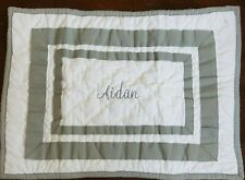 New Pottery Barn Baby Harper Gray Monogram Aidan Pillow Sham Cover 12 X 16