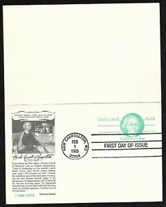 #UY35 (14c+14c) Charles Carroll -Domestic Rate Postal Rely Card- Artistocrat FDC