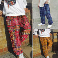 Men's Ethnic Floral Long Trousers Casual Loose Festival Wide Leg Pants Bottoms