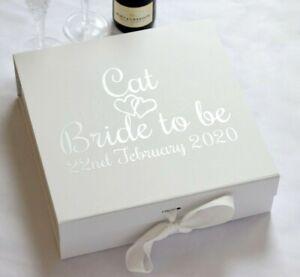 LARGE PERSONALISED BRIDE TO BE WHITE GIFT KEEPSAKE BOX WEDDING PROPOSAL