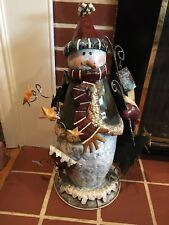 Unique Holiday Winter Stand Up Alone Metal Snowman with 3 Dimensional Parts CUTE