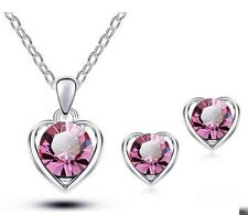 LOVE HEART Silver Gold Plated Crystal Necklace Earring Set Fashion Jewelry Charm