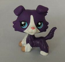 Littlest pet shop Figure Blue and White Collie Dog Blue Eyes Lps666