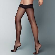 2 Pairs Ladies 15 Denier Sheer Soft Shine Vintage Smooth Top Hold up Stockings Black Large - Height 175-183cm