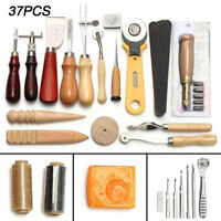 New 37Pcs Leather Craft Tools Sewing Stitching Punch Carving Work Saddle Kit UK