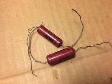 2 Nos Vintage Sangamo .01 uf 400v 600v Capacitors Red Molded Guitar Tone Caps