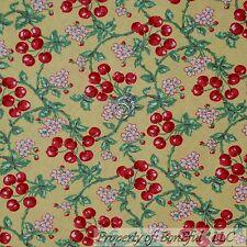 BonEful Fabric Cotton Quilt Yellow White Green Leaf Red CHERRY TREE Flower SCRAP