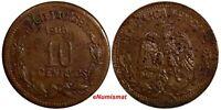 Mexico-Revolutionary GUERRERO Copper 1915 10 Centavos KM# 646