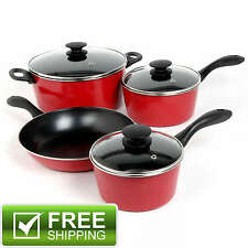 NEW 7 Piece Heavy Duty Cookware Set Non Stick Cooking Pots Pans and Lids Kitchen