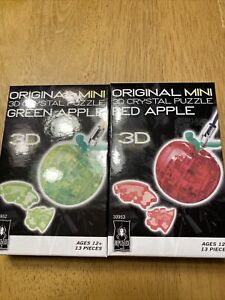 Original Mini 3D Crystal Puzzle Green  And Red Apple Ages 12+ Bepuzzled 2 Puzzle