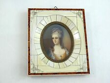 ANTIQUE MINIATURE PAINTING PORTRAIT YOUNG WOMAN HAND PAINTED ARTIST SIGNED #2