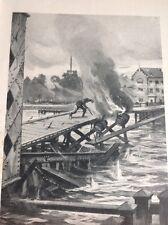 R3 R4 1918 Book Plate Belgians Fire Their Bridge To Halt Germans
