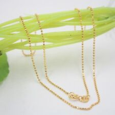 "New Pure 18K Yellow Gold 1mm Bead Link Chain Necklace Au750 16.5""L"