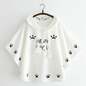 Lady Girl Cloaks Coat Hooded Loose Cotton Japanese Cute Cartoon Embroidery Sweet