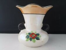 """Lusterware Japan Vase Urn Hand Painted Floral with two handles 4 1/2""""h"""