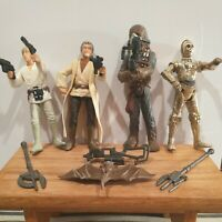 Hard to find used Star wars 3.75 action figures & weapons lot nice 🔥
