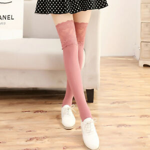 Lady Winter Leg Warmer Knitted Crochet Long Thigh High Over The Knee Soft Socks