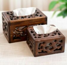 Hollow Wooden Tissue Box Retro Square Coffee Table Household Paper Storage Case