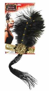"""Flapper Headband 12"""" Black Ostrich Feather Gold Sequins Womens Costume Accessory"""